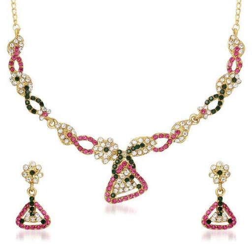 Urthn Pink Austrian Stone Gold Plated Necklace Set