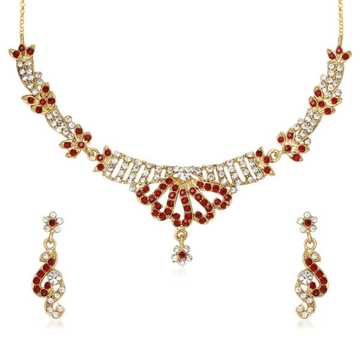 Kriaa Red Austrian Stone Gold Plated Necklace Set