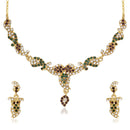 Kriaa Green Austrian Stone Gold Plated Necklace Set