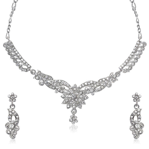 Kriaa White Austrian Stone Rhodium Plated Necklace Set