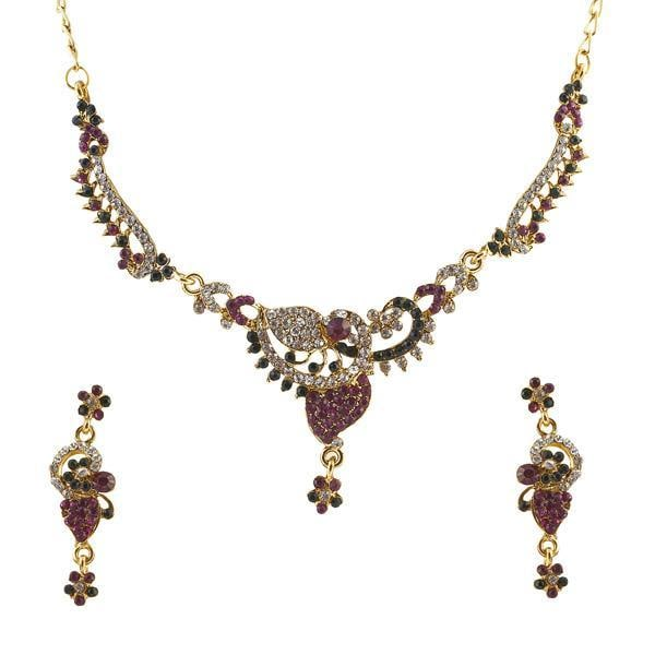 Kriaa Pink Austrian Stone Gold Plated Necklace Set - ES
