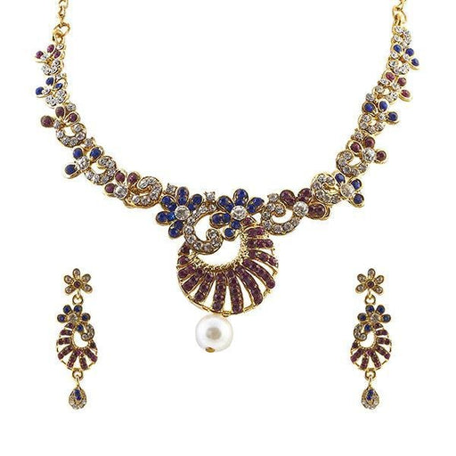Kriaa Pink And Blue Austrian Stone Necklace Set