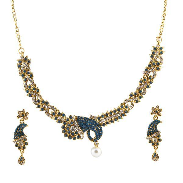 Kriaa Gold Plated Blue Austrian Stone Necklace Set - ES