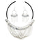 Urthn Silver Plated Statement Necklace Set