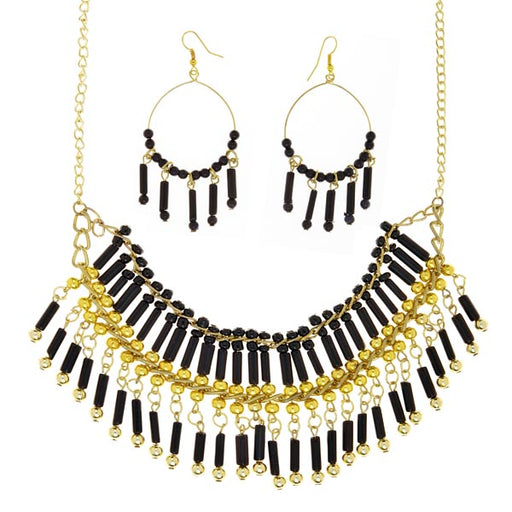 Beadside Black Beads Gold Plated Statement Necklace Set