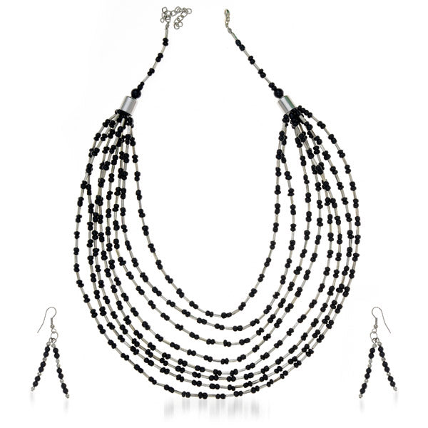 Urthn Black Beads Silver Plated Costume Necklace Set