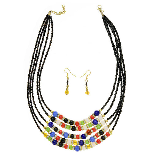 Beadside Multicolor Beads Gold Plated Statement Necklace Set
