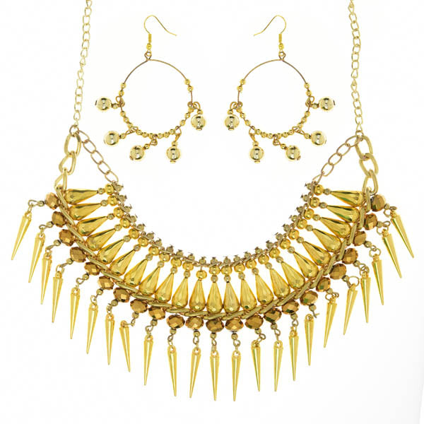 Urthn Gold Plated Beads Statement Necklace Set