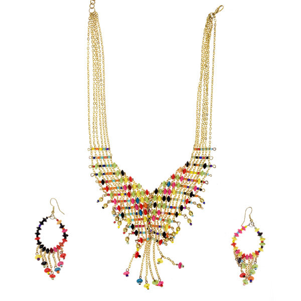 Urthn Multicolor Beads Gold Plated Statement Necklace Set
