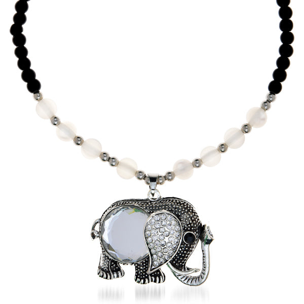 Urthn Pearl Stone Elephant Fusion Necklace