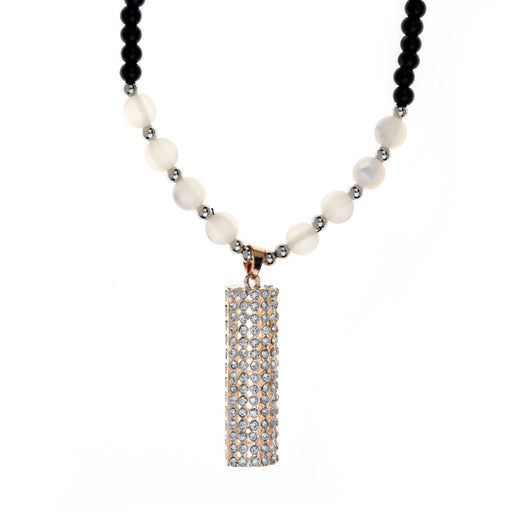 Urthn Pearl Austrian Stone Rhodium Plated Necklace