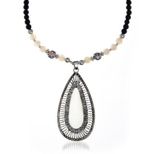 Urthn Black Oval Rhodium Plated Necklace