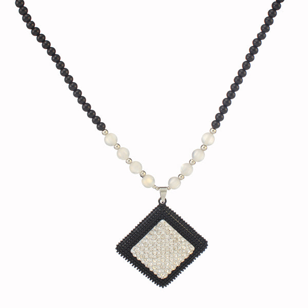 Urthn  Austrian Stone Rhodium Plated Black Beads Necklace