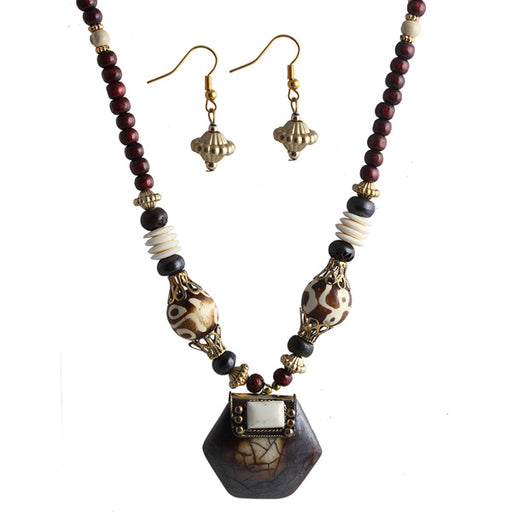 Beadside Black & Maroon Beads Antique Gold Necklace Set