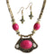 Beadside Pink Beads Antique Gold Necklace Set