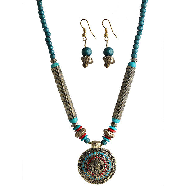 Beadside Blue & Red Beads Antique Gold Necklace Set