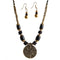 Beadside Black Beads Antique Gold Necklace Set