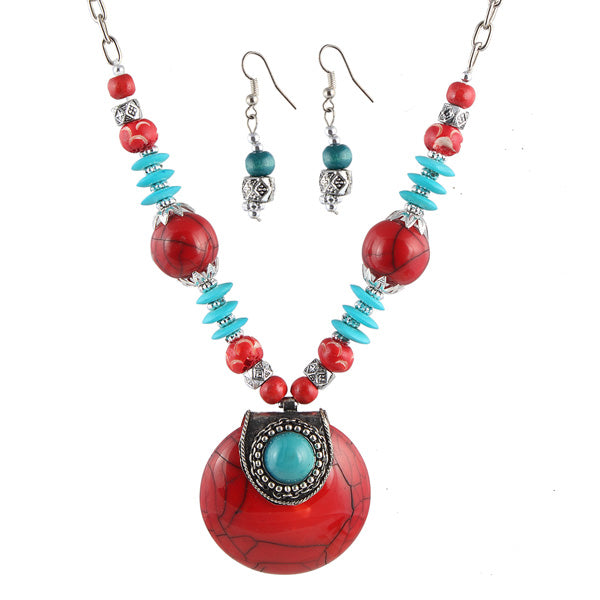 Beadside Red & Blue Beads Antique Gold Necklace set