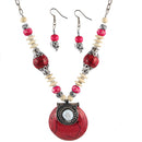 Beadside Pink Beads Rhodium Plated Necklace Set