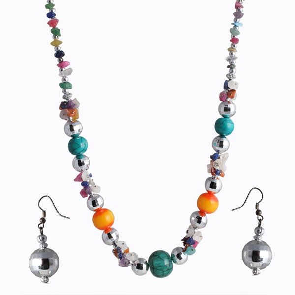 Beadside Multicolour Beads Rhodium Plated Necklace Set