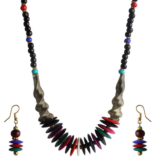 Beadside Multicolor Beads Antique Gold Necklace Set