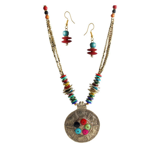 Beadside Multicolour Beads Oxidised Necklace Set