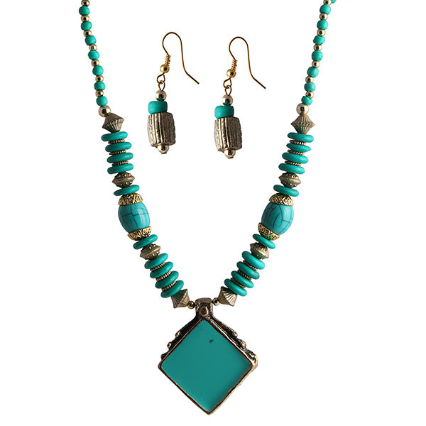 Beadside Blue Beads Antique Gold Necklace Set
