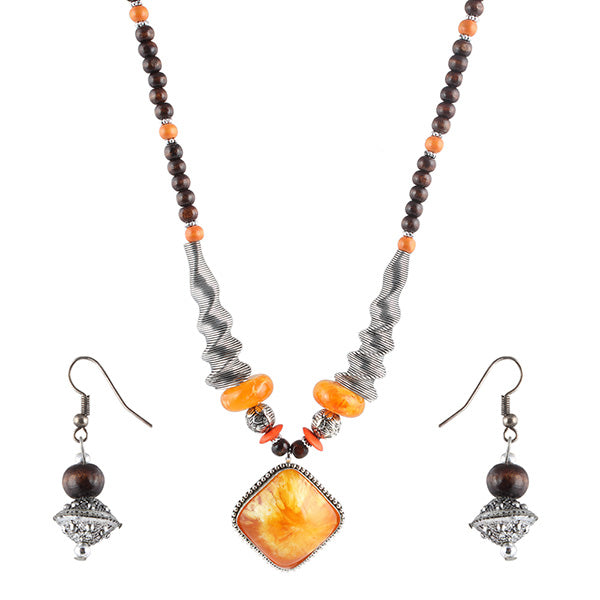 Beadside Orange Beads Rhodium Plated Necklace Set