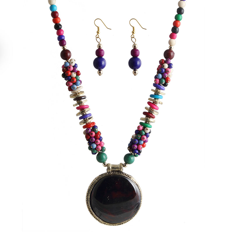 Beadside Multicolor Beads Fusion Necklace Set