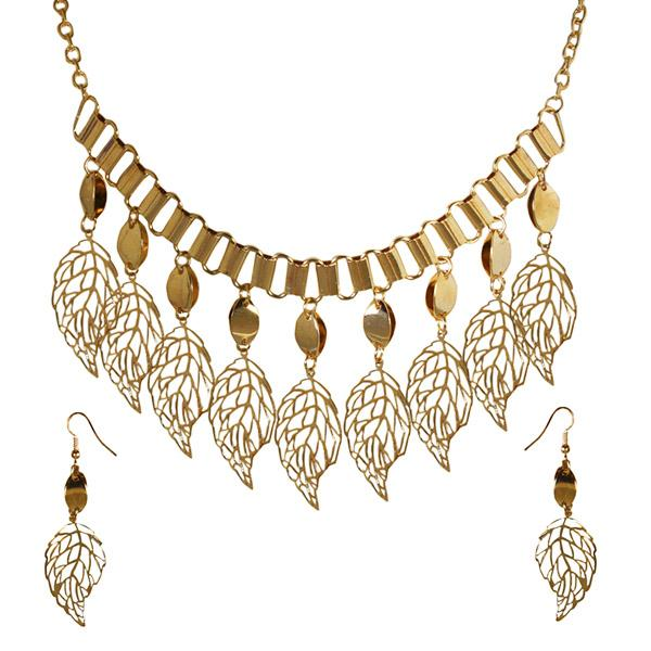 Jeweljunk Gold Plated Statement Necklace Set -1106002