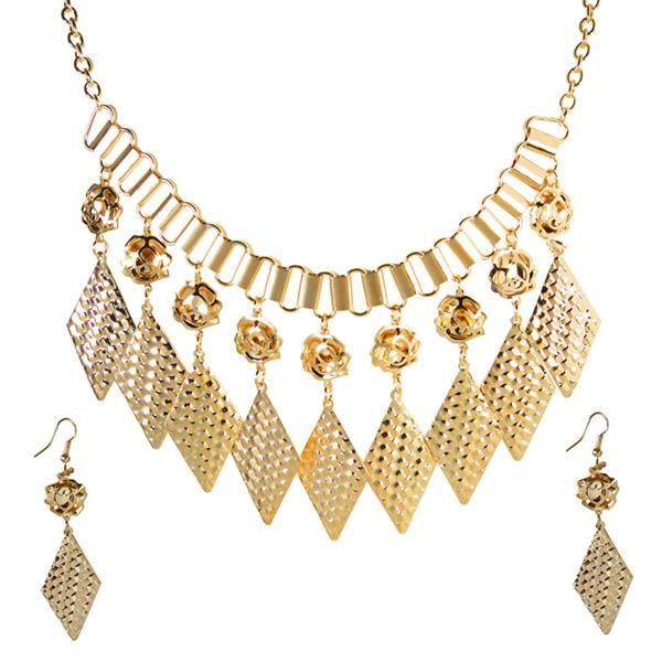 Jeweljunk Antique Gold Statement Necklace Set -1106007