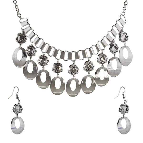 Jeweljunk Rhodium Plated Statement Necklace Set -1106011