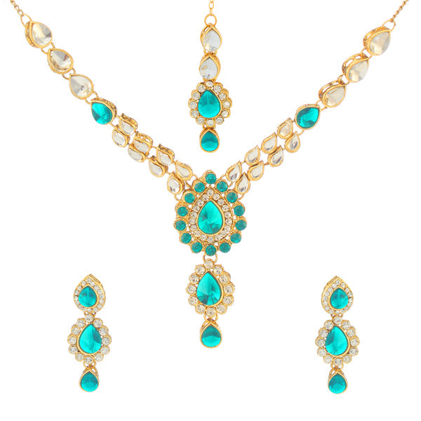 Kriaa Green Kundan Necklace Set With Maang Tikka