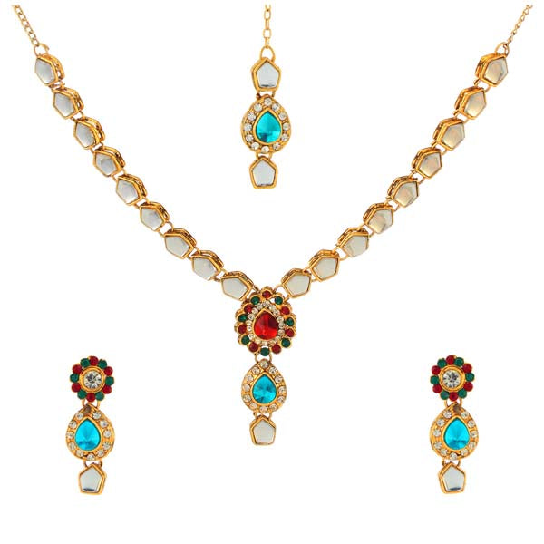 Kriaa Maroon & Blue Gold Plated Kundan Stone Necklace Set With Maang Tikka