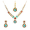 Kriaa Blue Kundan Necklace Set With Maang Tikka