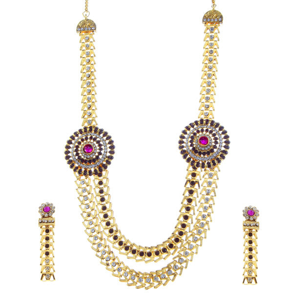 Soha Fashion Purple Austrian Stone Gold Plated Necklace Set