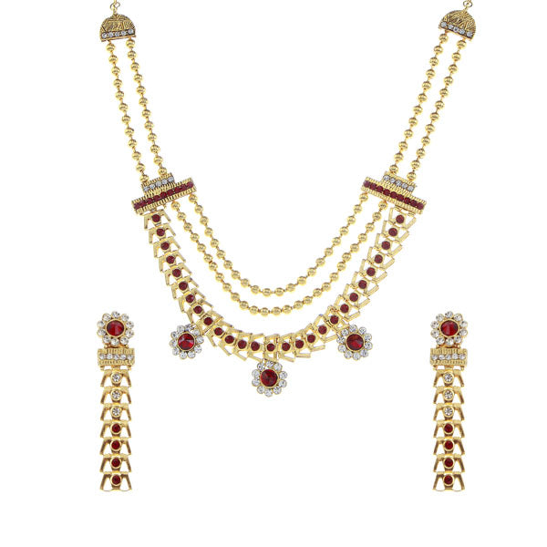 Soha Fashion Austrian Stone Gold Plated Traditional Necklace Set