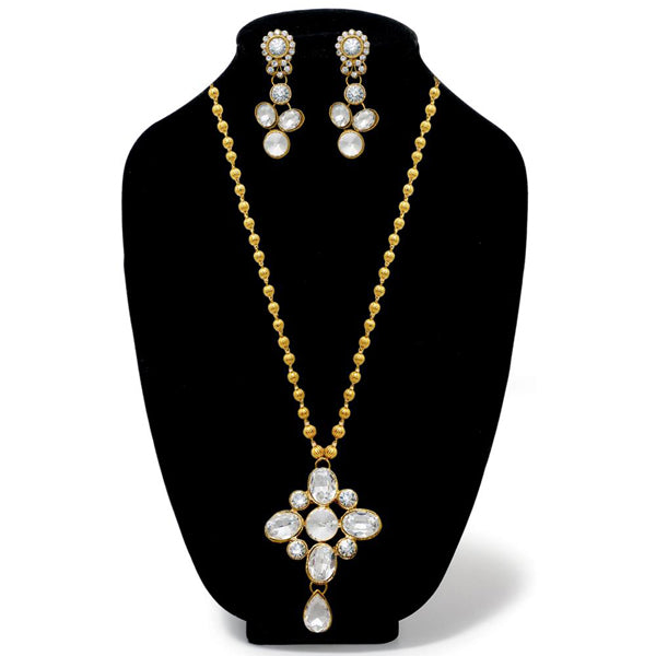 Kriaa Gold Plated White Glass Stone Necklace Set