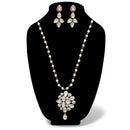 Native Haat White Glass Stone Gold Plated Necklace Set - N1106410B
