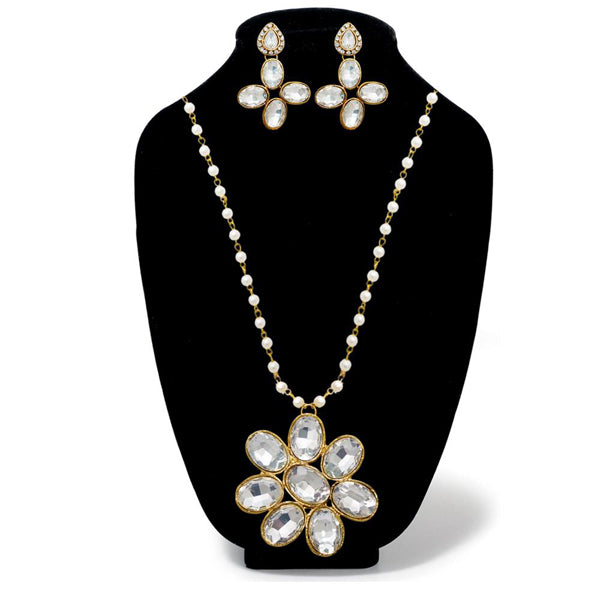Kriaa White Glass Stone Gold Plated Necklace Set