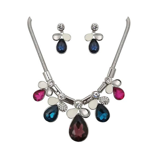 Urthn Multicolour Crystal Stone Silver Plated Necklace Set