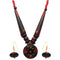 Beadside Red Beads Antique Gold Plated Necklace Set