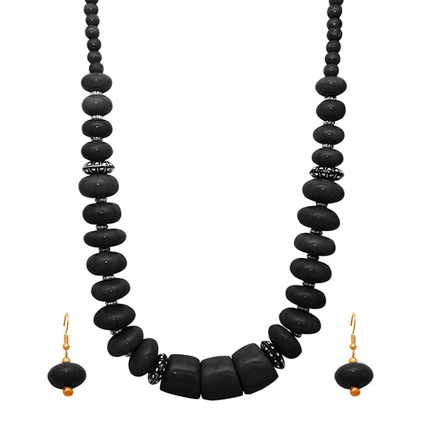 Beadside Black Beads Antique Gold Plated Necklace Set