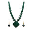 Beadside Green Beads Antique Gold Plated Necklace Set