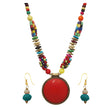 Beadside Multicolour Beads Antique Gold Necklace Set