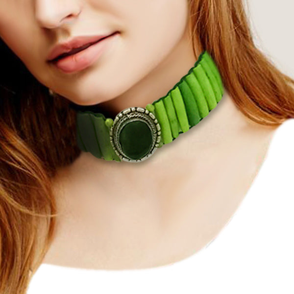 Jeweljunk Green Beads Statement Necklace