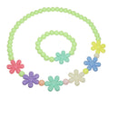 Cuteens Multicolour Floral Beads Necklace With Bracelet
