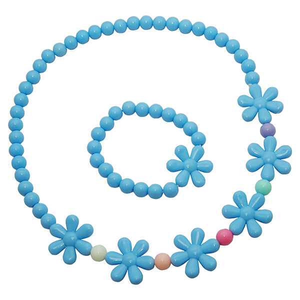 Cuteens Blue Floral Beads Necklace With Bracelet