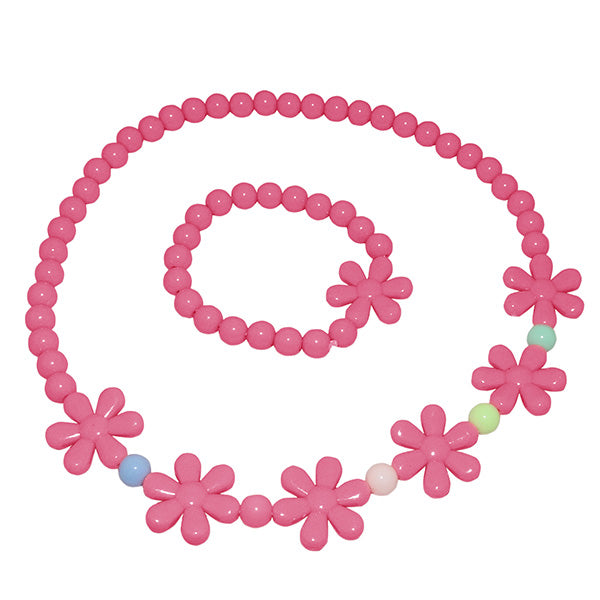 Cuteens Pink Floral Beads Necklace With Bracelet