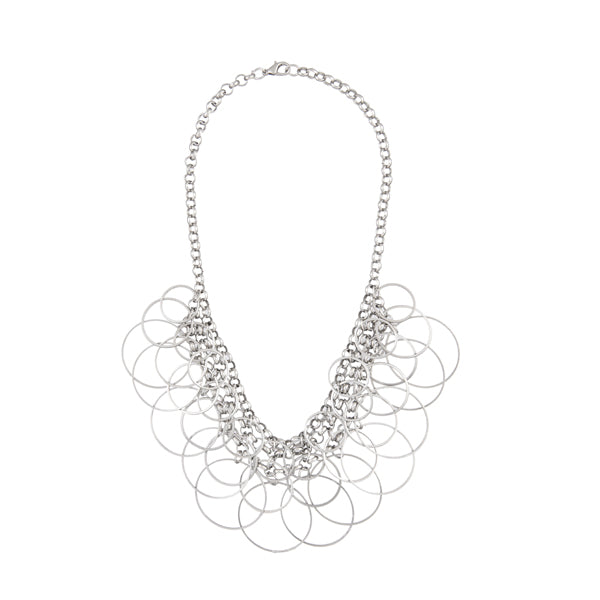 Urthn Rhodium Plated Multi Statement Necklace